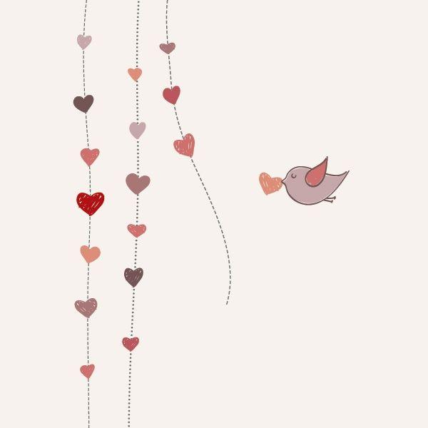 Pajarito y corazones