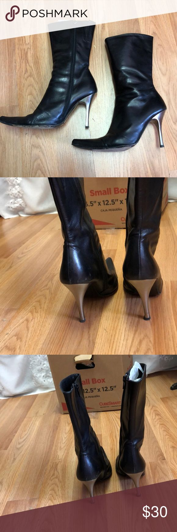 Charles David Stylish pointy leather heeled boots These boots are beautiful and can go with any outfit! They have been worn - as you can see from the bottoms-  but they're still a great pair of boots with a lot of wear left! Size 8, Charles David, made in Spain, leather. Charles David Shoes Heeled Boots