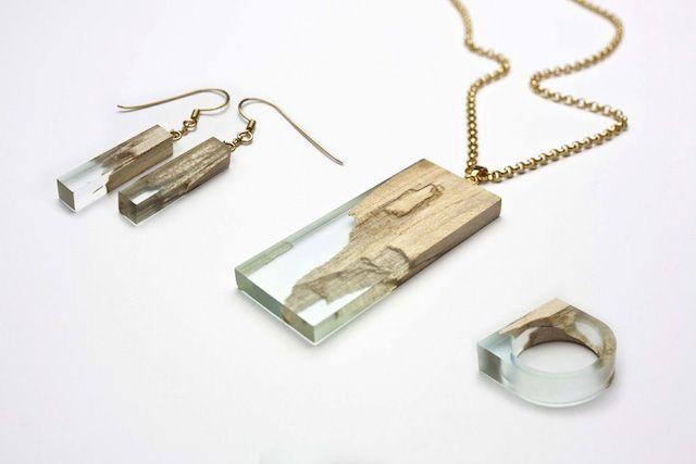 Des magnifiques bijoux faits de bois d'érable et de résine naturelle - Joli Joli Design