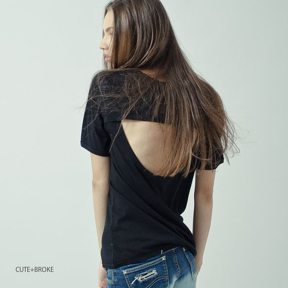 T shirt with cut out back by cuteandbroke