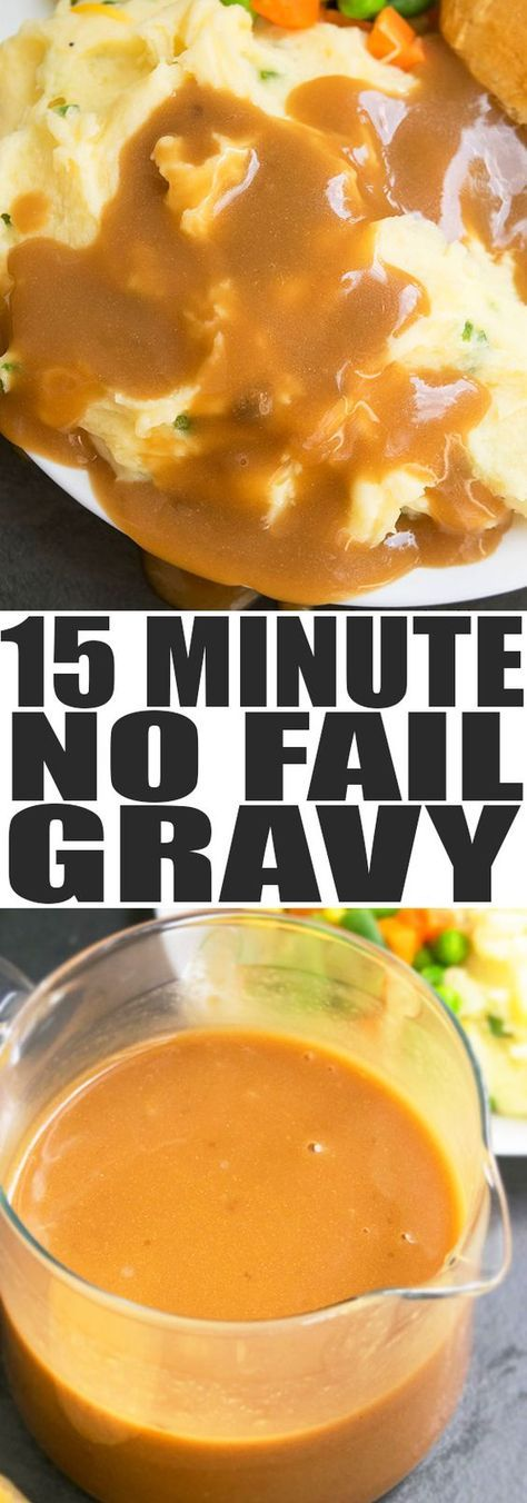 Learn how to make homemade gravy from scratch in 15 minutes. This easy brown gravy recipe with meat drippings, flour, broth is the perfect easy Thanksgiving gravy. From cakewhiz.com #gravy #sidedish #dinner #thanksgiving