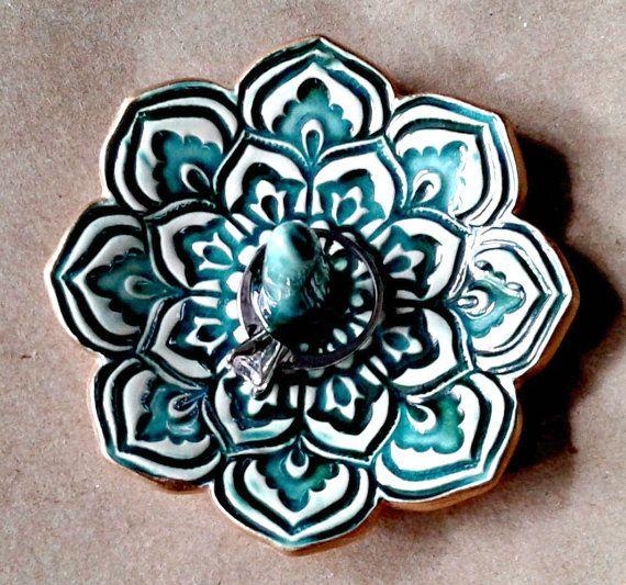 Or Lotus bague porte bol céramique tranchant Malachite vert 3 1/4 pouces de tour porteurs de l'anneau