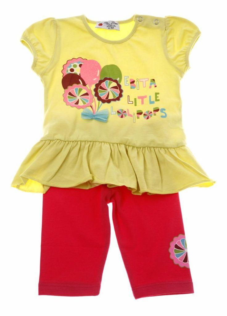 Εβίτα βρεφικό σετ μπλούζα-παντελόνι κολάν «Little Lolipops»  €12,50