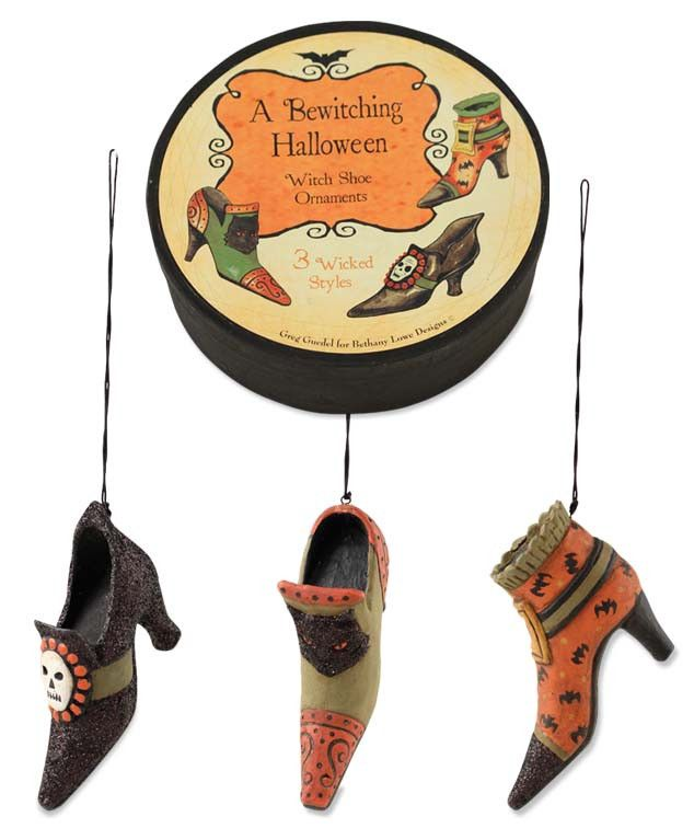witch shoe ornaments in box - Halloween Tree Ornaments