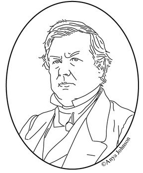 millard fillmore 13th president clip art coloring page or mini poster