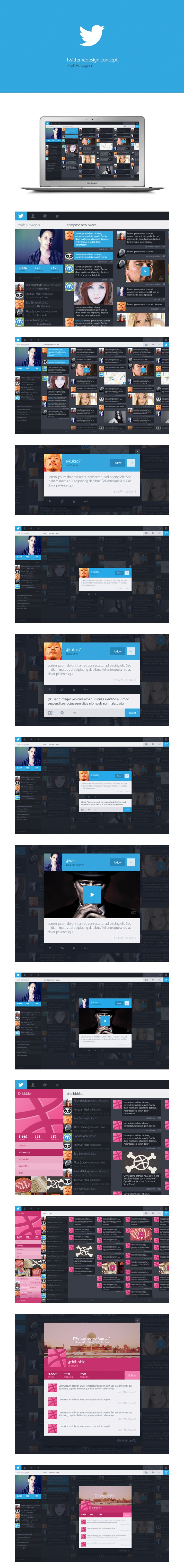 Twitter redesign concept / zsolt hutvagner. Perhaps a bit too much Windows 8, but really cool concept