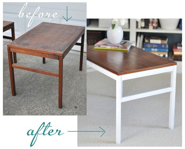Great idea for thrift store refabs... keep wood top and paint bottoms pristine white!