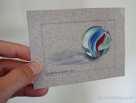 Learn How to Draw a Marble in Colored Pencils in this Step by Step Drawing Lesson http://www.art-is-fun.com/how-to-draw-a-marble.html