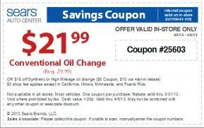 We share here the latest free and printable Sears Oil Change Coupons online for free 2015