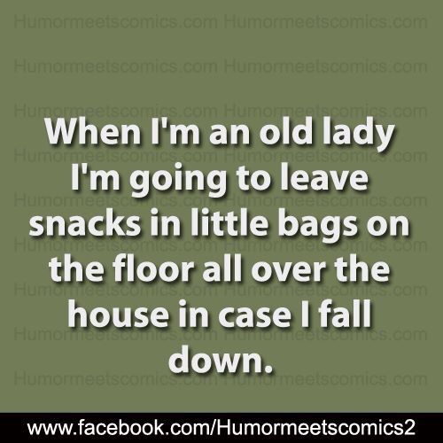 This seems like sage advice...I mean if you fall and can't get up you've still got a snack! I guess in the unlikely event that Minnie lived that long perhaps I could train her to go for help...hmmm *GO FOR HELP MINNIE!...Lassie them song plays in the background*