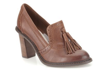 Clarks Blues Charm, Dark Tan Leather, Womens Casual Shoes