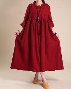 Linen Maxi dress, Cotton long dress, Solid color dress, long sleeved dress