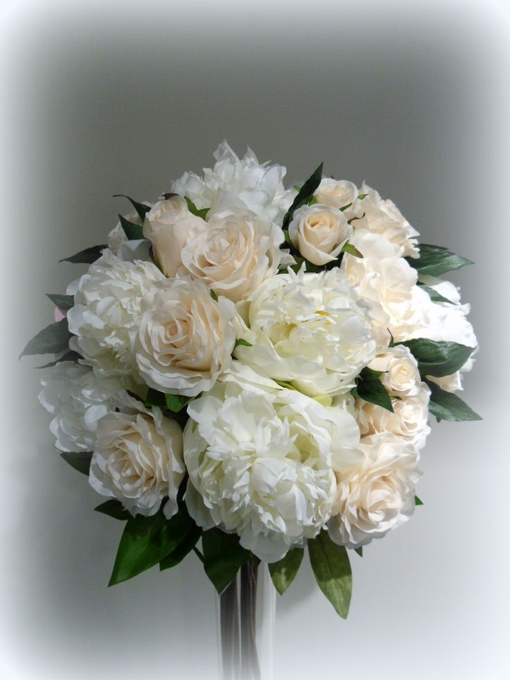 White peonies and champagne roses -all artificial flowers from www.florabunda.co.nz