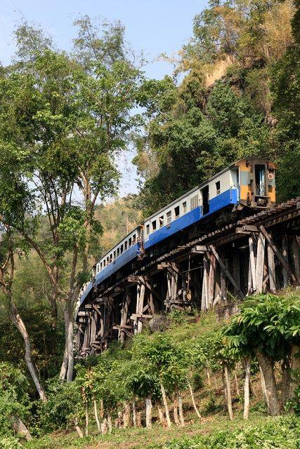 Train travel on the River Kwai Bridge at Kanchanaburi in central Thailand