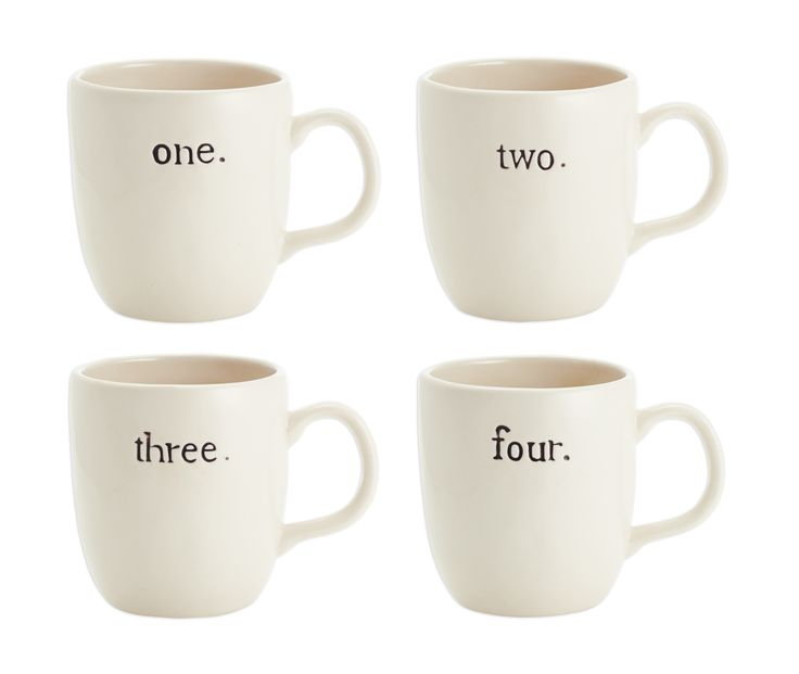 Numbered Mugs Set Of 4 Magenta Home Decor And
