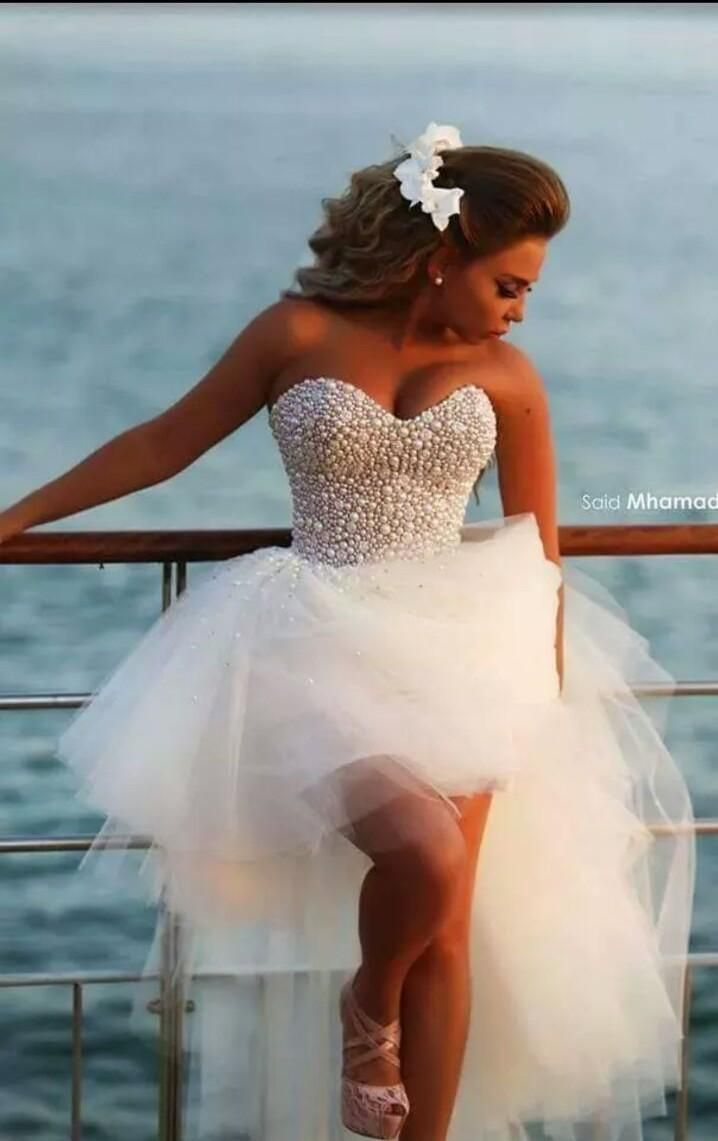 Beach Wedding Dresses Hi-Lo Wedding Dress Sweetheart Corset Lace-up Beaded Prom Dresses High Low Ball Gowns 2015 Wedding Gowns with Pearls, $159.17 | DHgate.com