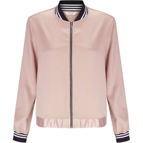 Miss Selfridge PETITE Pink Bomber Jacket ($42) ❤ liked on Polyvore featuring outerwear, jackets, petite, pink, striped jacket, miss selfridge, pink bomber jacket, flight jacket and bomber style jacket