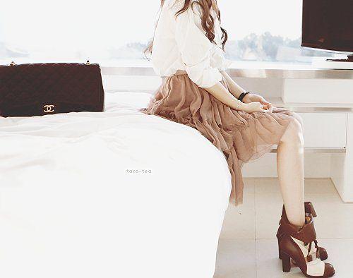 White Blouse w/ a tan skirt & booties