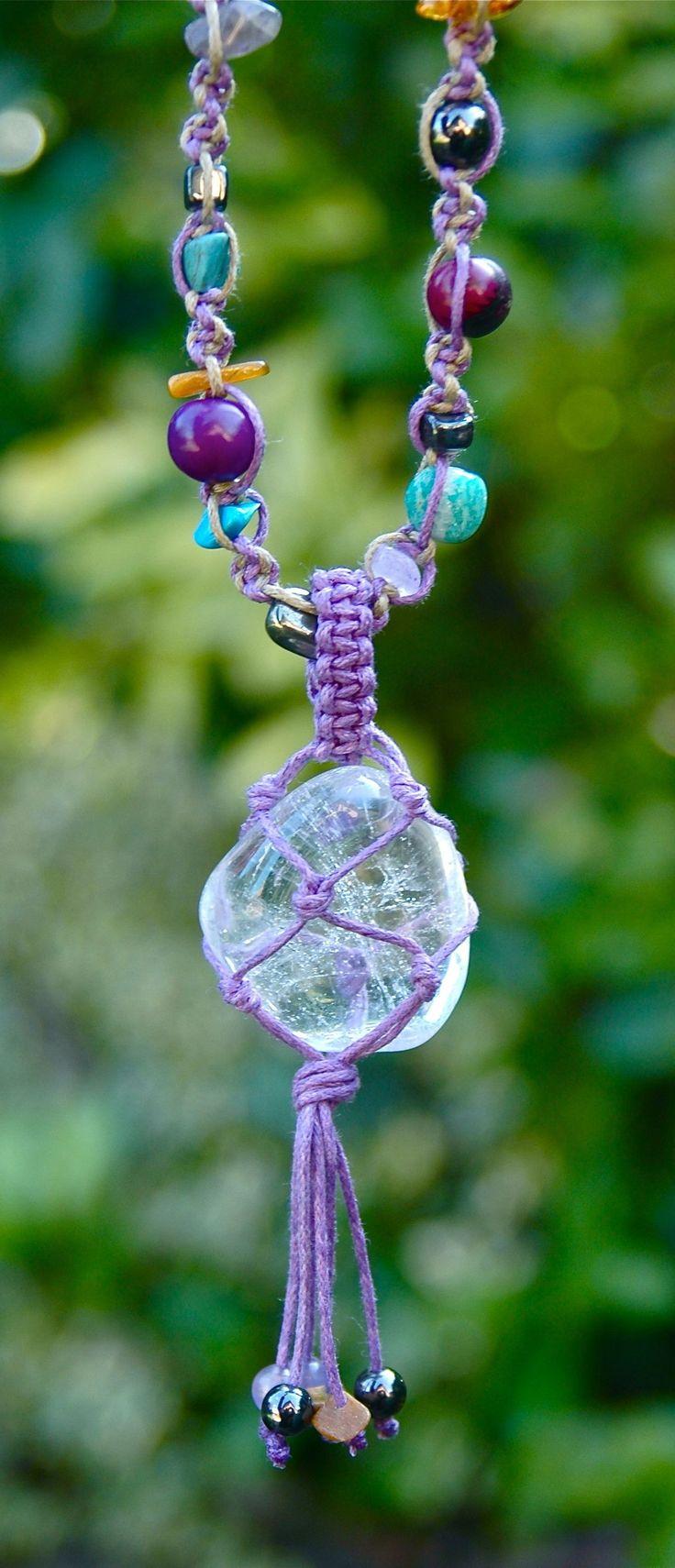 Clear quartz macrame crystal necklace, colourful boho jewellery by TessHeaven on Etsy  https://www.etsy.com/uk/listing/227057908/quartz-crystal-necklace-clear-quartz?ref=shop_home_feat_3