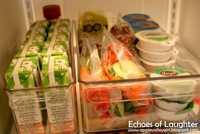 """grab-n-go snacks: """"I prepared a a bin of healthy snacks for the kids to 'grab & go'....things that could quickly go into a sports bag on the way out the door. I made up several small servings of veggies and fruit, along with ranch dip, single servings of guacamole, Greek yogurt, and Babybel cheese, along with 100% juice boxes."""""""