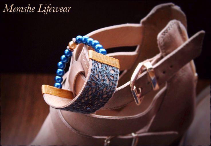 Blue beige Memshe / leather bracelet / SS15