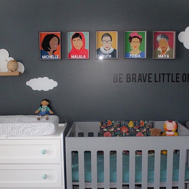 """Who run the world? Girls.""   Seriously, how sweet is this girl power nursery? : @buymodernbaby // Prints by @thefilmartistshop"