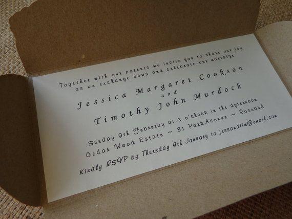 Wedding Invitation in Rustic Folder by CreateTheDate on Etsy, $2.97