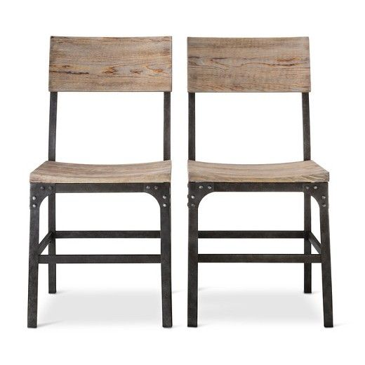 Franklin Wood Seat Dining Chair   Metal, Gray (Set Of 2)
