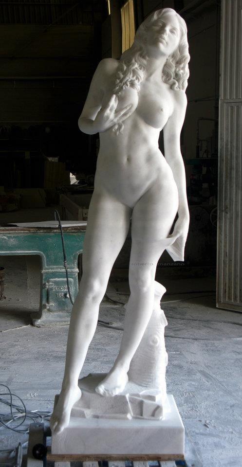 "Roberto Manzano, ""Heroina,"" Marble Sculpture, ca. 2013."