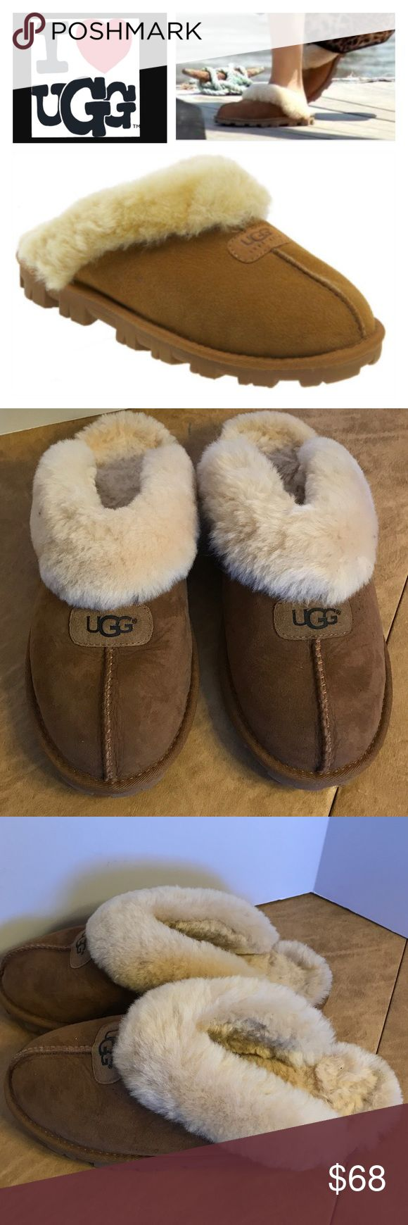 UGG Croquette Genuine Shearling Slipper An incredibly plush, genuine shearling lining creates superior softness in a comfy, cozy slipper. Wear them barefoot for maximum benefit; genuine sheepskin helps keep feet dry and comfortable in cold temperatures. The sturdy sole on this slipper ensures their durability and makes them ideal for indoor/outdoor wear. Suede upper/genuine shearling lining/EVA outsole. Shoes are new without box. There is some sticker residue on the sole of one shoe from…
