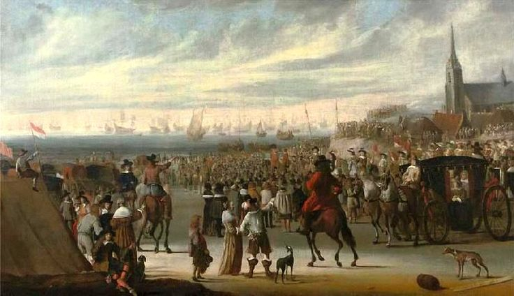 Cornelis Beelt (ca.1612-1664/1702) Het vertrek van Koning Charles II van Scheveningen op 24 mei (Juliaanse kalender) ofwel 2 juni (Gregoriaanse kalender). (Coll. Christies.com). Het tafereel verbeeldt de inscheping van Koning Charles II van het strand van Scheveningen, die hem terugbrengt naar Engeland voor de Restauratie