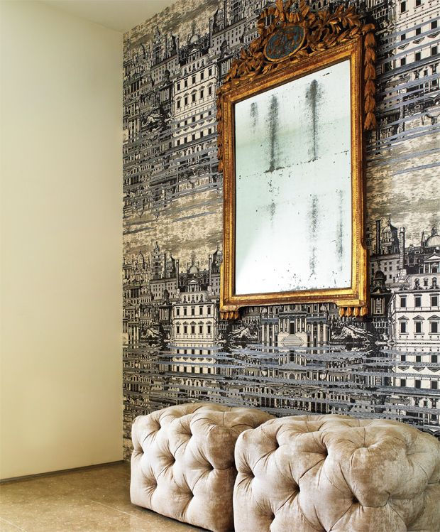 Parisian inspiration with velvet tufted ottomans, Fornasetti Riflesso Wallpaper by Cole & Son.