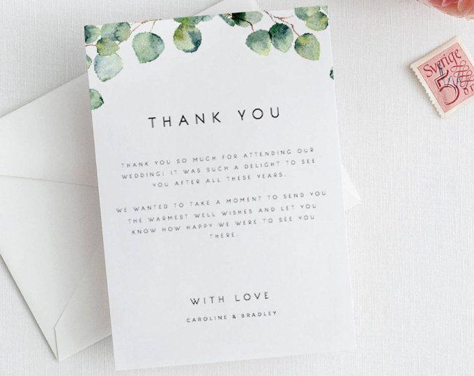 Greenery Wedding Thank You Card Template Eucalyptus Thank You Note