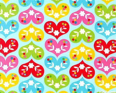 """Ella - Bright Hearts - Powder Blue - 42"""" FLANNEL $7.95. These pretty hearts are all lined up in rows, the better to show off their candy colors and floral designs. Printed on a cozy flannel, these hearts will guarantee sweet dreams. 42"""" wide flannel, hearts are about 1 7/8"""", from the 'Ella' collection by Marie Perkins of Inkjet Designs for Print & Pattern by Robert Kaufman Fabrics."""