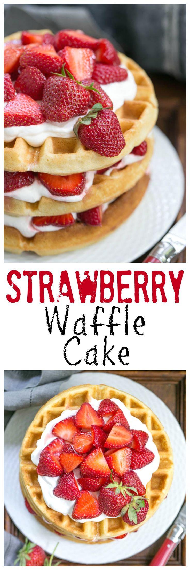 Strawberry Waffle Cake | A sensational layered dessert reminiscent of strawberry shortcake with waffles made of cake batter! @lizzydo