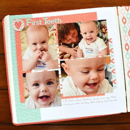 Baby's firsts in a Hello Baby Girl Fast2Fab album #CreativeMemoriesAustralia #scrapbooking