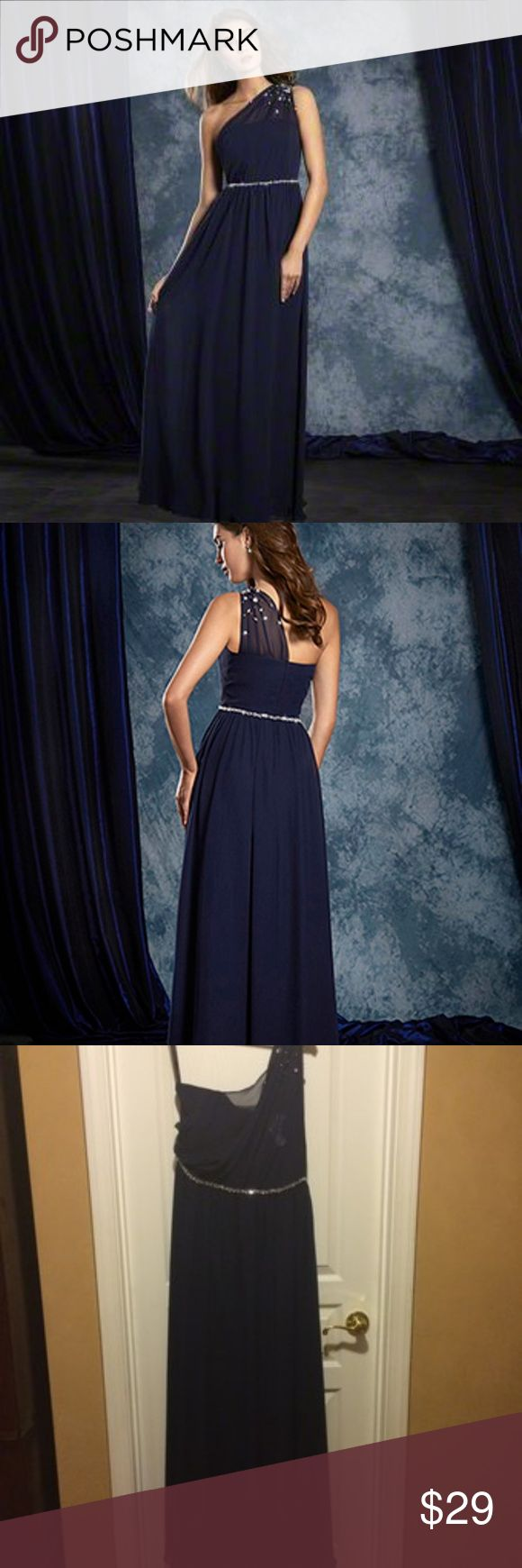 Alfred Angelo Sapphire Bridesmaids Dress 8109L Alfred Angelo Sapphire Bridesmaids Dress 8109L Navy Size 10  This is a bridal store sample - never removed from boutique setting.  GUARANTEED 100% AUTHENTIC!  It has been removed from its original packaging.  It has been tried on by customers in our store.  The interior and exterior tags may or may not have been removed.  The color in the stock photograph may not be the same as the sample; the final picture is of the actual dress.  A size chart…