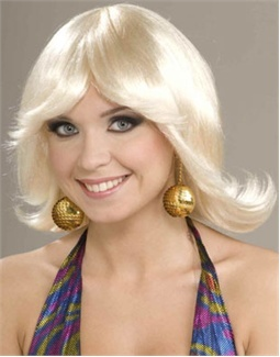 70s Costume Blonde Funky Disco Fever Flip Wig