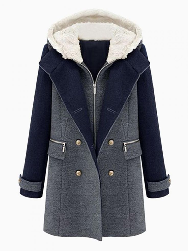 Padded Coat With Detachable Shearling Hood - Choies.com, I like that this coat has an inner lining that can be removed so when it starts to warm up I can take it out.  Nice for everyday wear, coats, jackets, warm wear, clothing