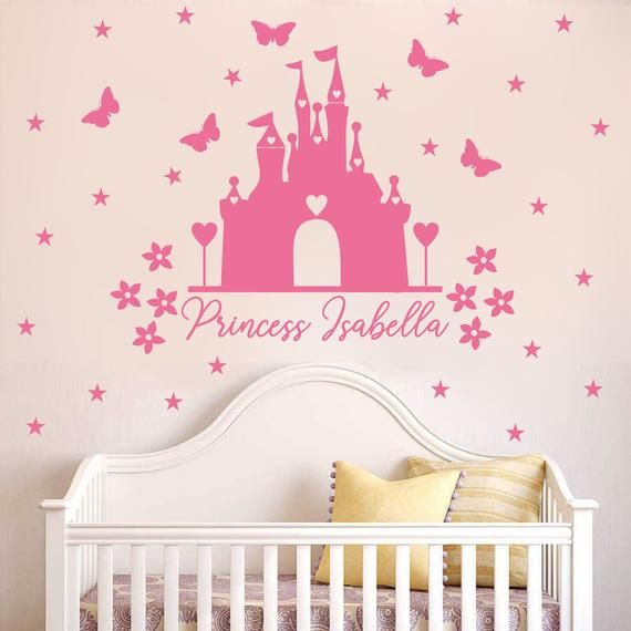 Disney Minnie Mouse bow head Wall Stickers Personalised Name Minnie Castle Decal