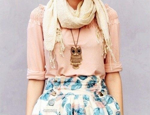 Outfit is beautiful by itself - then u add the owl necklace- gorgeous! :)