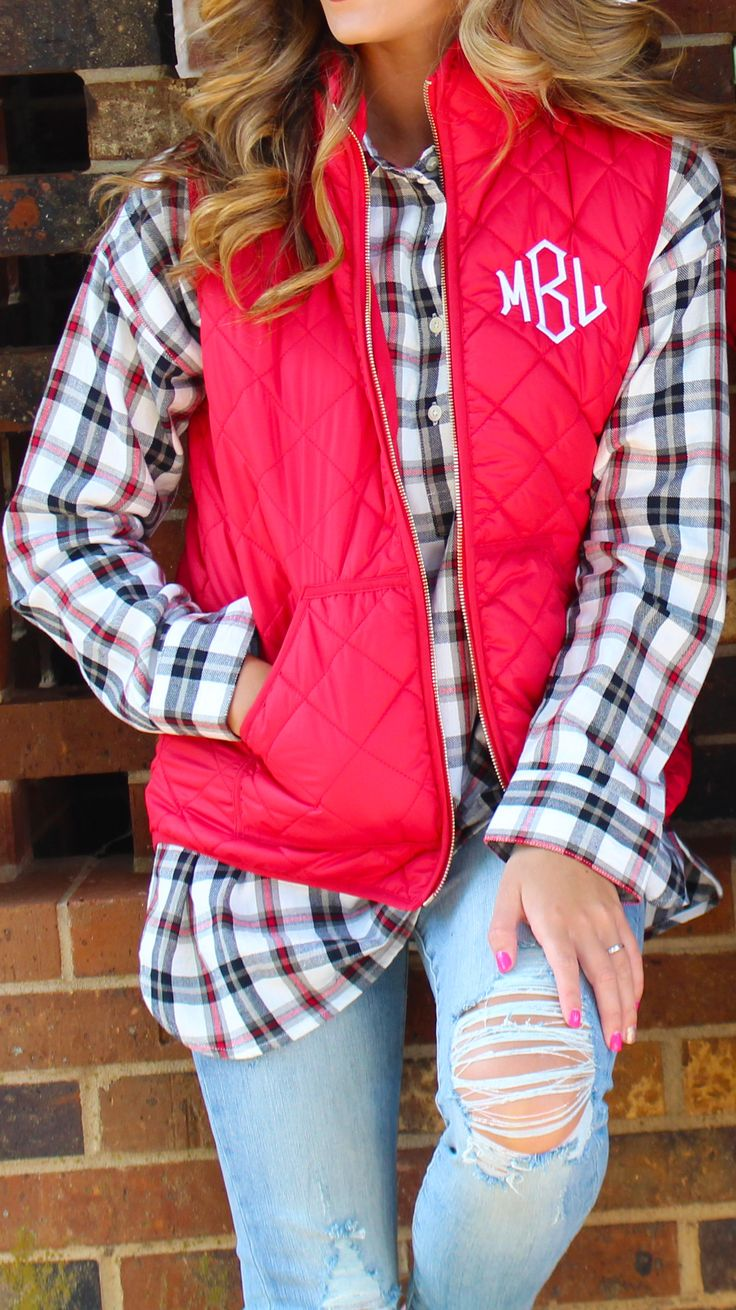 Yay! Puffy Vests are back! Pick out your favorite color and get it monogrammed now at Marleylilly.com! #fall