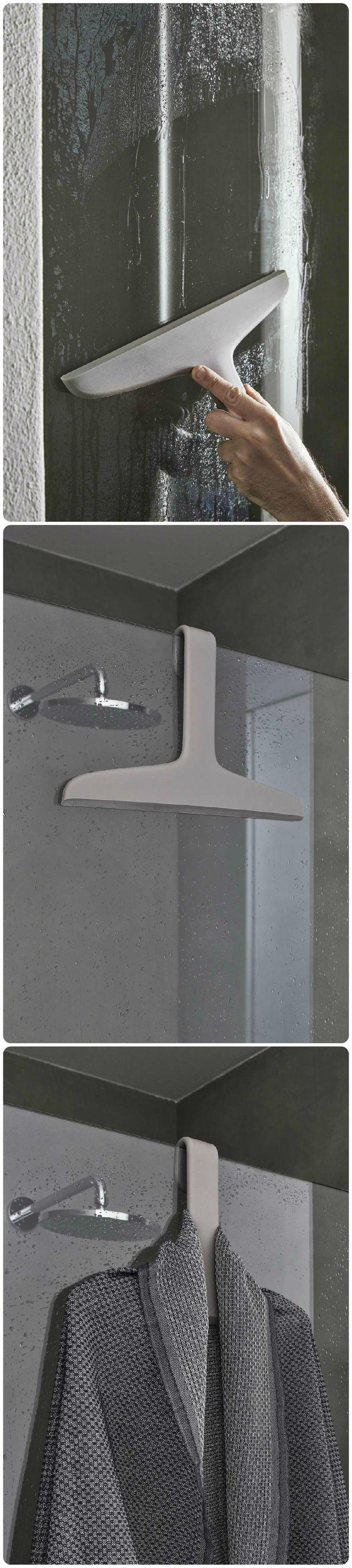 TITO - Useful to clean the shower glass but also as bathrobe hanger.  #geelli #geellinews2015 #tiraacqua #gruccia #appendino #doccia #shower #hanger