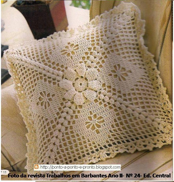 Ponto a ponto e, pronto!: Capa para almofada - em crochê. Flor pipoca