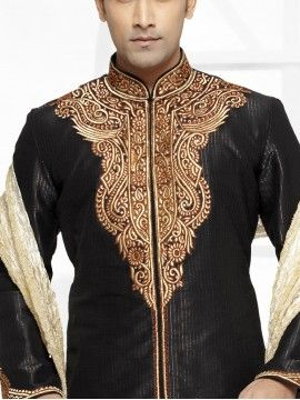 Black Color Semi Stitching Sherwani