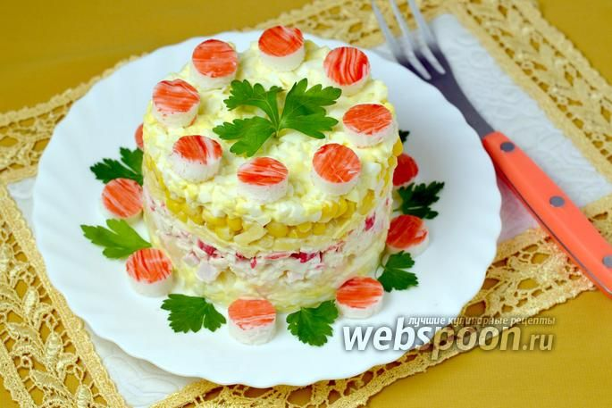 Фото Салат из крабовых палочек и ананасов
