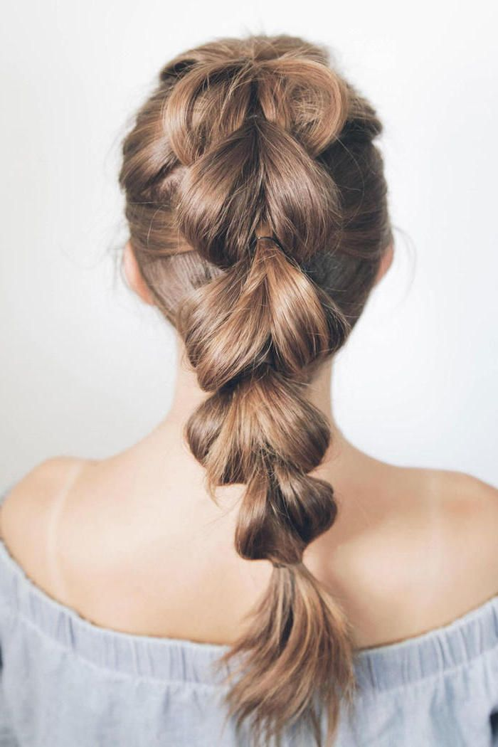 blue off the shoulder top, braided ponytail, how to braid hair, white background   – Hairstyles for Men and Women