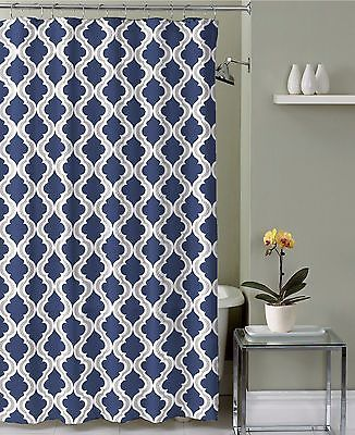 Navy Blue Taupe White Moroccan Fabric Shower Curtain: Crestlake Elegance
