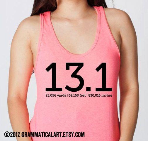 Neon Running Shirt Half Marathon TShirt 13.1 by GrammaticalArt, $20.00
