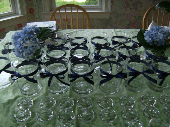 Centerpiece wedding ideas pinterest ribbons blue